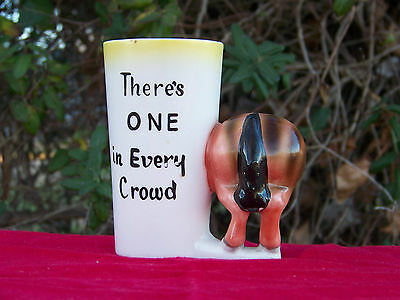 50's NORCREST Ass Mule Donkey Cup Mug THERE'S ONE IN EVERY CROWD Desk Organizer