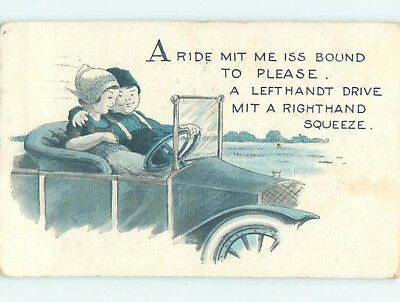 Pre-Linen comic BOY PUTS ARM AROUND GIRL WHILE DRIVING ANTIQUE CAR HJ1721