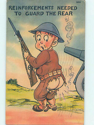 Linen comic military REAR GUARD - ARMY SOLDIER WITH TORN PANTS HJ2035