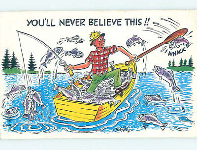 Pre-1980 comic signed FISHERMAN CATCHES MORE FISH THAN HE CAN HANDLE HJ2125