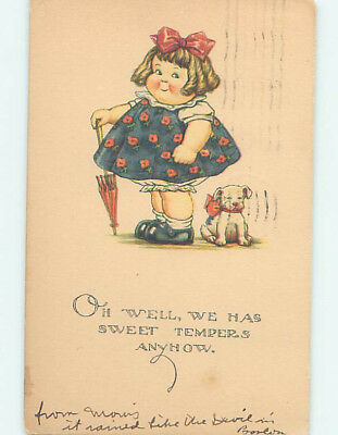 Damaged Pre-Linen comic CUTE DOG SITS BESIDE THE FAT GIRL WITH UMBRELLA HJ1854