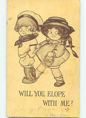 Pre-Linen comic WILL YOU ELOPE WITH ME - GIRL AND BOY SHOWN HJ1818