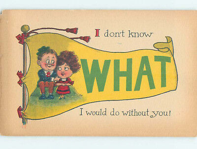 Pre-Linen comic WHAT WOULD I DO WITHOUT YOU - CUTE COUPLE SHOWN ON FLAG HJ1735