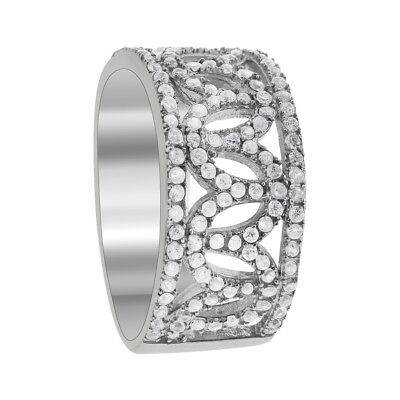a8896a8246747 CRISLU CUBIC ZIRCONIA Pave Sectioned Ring Sterling Silver.925 Pure ...