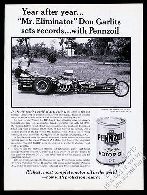 1962 Don Garlits and dragster photo Pennzoil motor oil vintage print ad