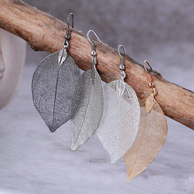 Vintage Women's Natural Real Dipped Leaf Leaves Long Drop Dangle Earrings Gift