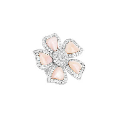 925 Sterling Silver Pink Floral Mother Of Pearl Flower Ring