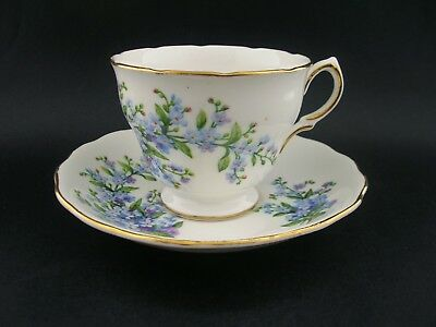 Royal Vale Blue Forget-Me-Not Vintage English China Tea Cup & Saucer c1960s