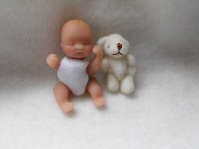 OOAK handmade miniature sulpt  5 cm  clay baby  jointed doll 1/12th  by Carol