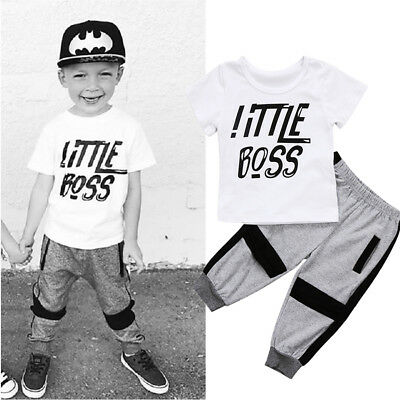 UK Stock Toddler Kids Baby Boys Tops Pants Leggings 2pcs Clothes Outfit Set 1-6Y