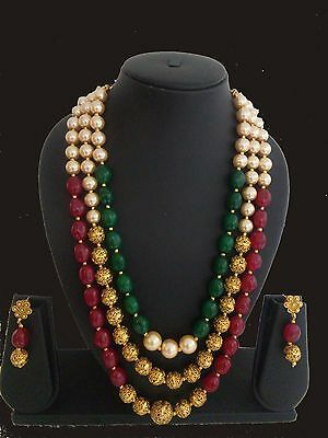 Indian Fashion Jewelry Bollywood Long Necklace Ethnic Gold Plated Traditional