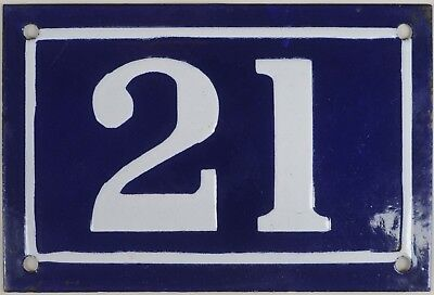 Old blue French house number 21 door gate plate plaque enamel metal sign c1950