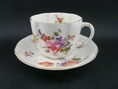 Royal Crown Derby 'Derby Posies' Vintage English China Tea Cup & Saucer c1940s