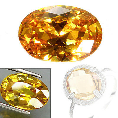 10pcs14mm Gem Oval Shape Yellow Sapphire Natural Loose Gemstone Jewelry Gifts C