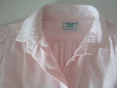 Pink and white striped long sleeve Blouse 012 Benetton chest 30inches  1988