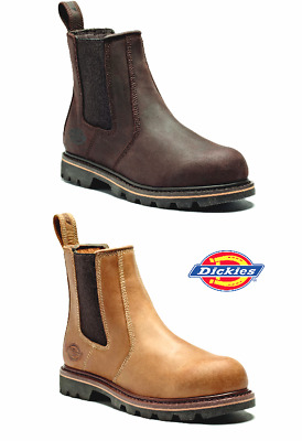 DICKIES FIFE Leather SAFETY  DEALER Chelsea BOOTS  Crazy Horse Brown Tan