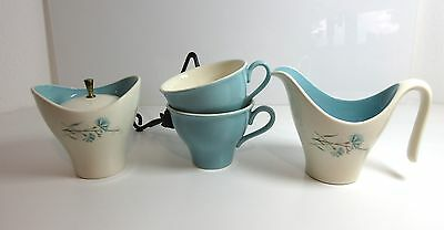 4 pc Vintage Harmony House BUTTONS & BEAUX CUPS + Creamer + COVERED SUGAR BOWL
