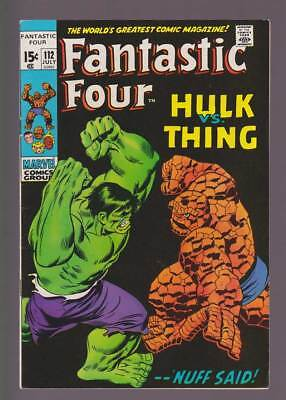 Fantastic Four # 112  The Hulk versus the Thing !  grade 7.5 scarce book !