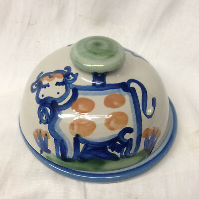 Hadley M A Country Scene Blue Covered Round Butter Dish Cow