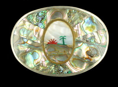 Vintage Beautiful Abalone Mother of Pearl Shell Silver Alpaca Mexico Belt Buckle