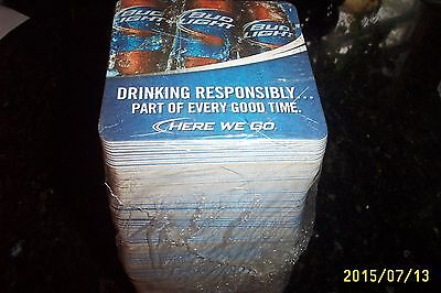 Bud Light Square Coasters 100 + In New Sleeve Dring Responsibly, Here We Go