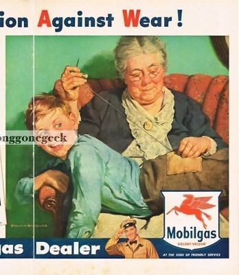1948 MOBIL Mobilgas Mother Sewing Patch art Harold Anderson Centerfold Vtg Ad