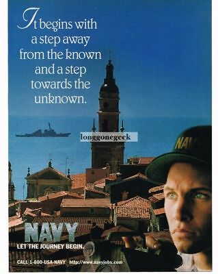 1998 US NAVY Recruiting Recruitment Begins With A Step Away Vtg Print Ad