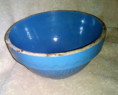 Vintage Blue Mixing or Serving Stoneware Shoulder Bowl with Embossed Design