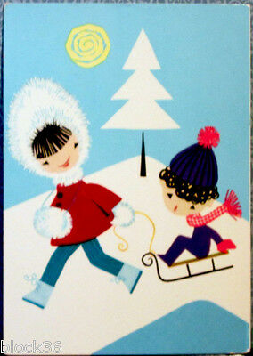 German postcard: Children with sledge on the winter day