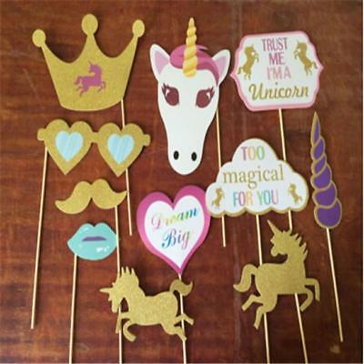 Rainbow Unicorn Pegasus Photo Booth Props Kit - 26 Pack Party Camera Props Z