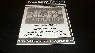Tow Law Town v Altrincham 5th February 1983 FA Challenge Cup