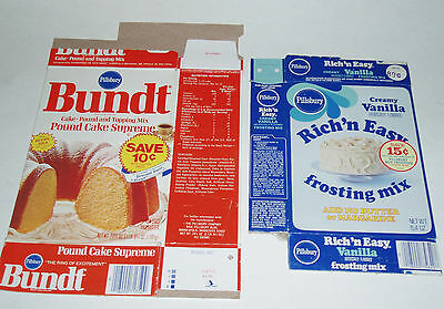 1970's Pillsbury Bundt Cake & Frosting Mix Boxes