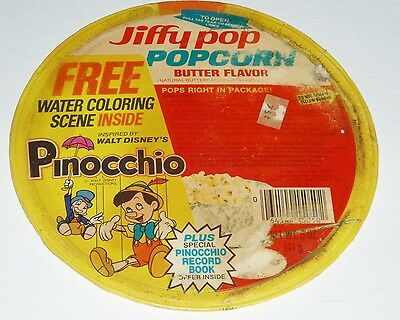 1978 Jiffy Pop Popcorn Lid w/ Disney Pinocchio Premium offer