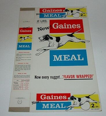 1962 Gaines Meal Dog Food Box vintage retro