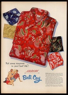 1952 Arrow Bali Cay Aloha Hawaiian shirt 5 designs vintage print ad