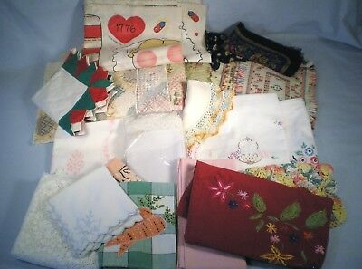 Lg Lot Linens ~Many Cutters ~Embroidered Tablecloth & Skirt ~Doily ~Napkins