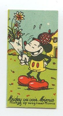 Disney Small Trade Card Mickey Flower to Minnie Mouse Chocolaterie Rubis c1930s