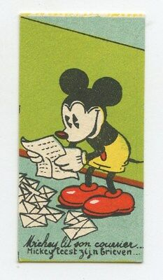 Disney Small Trade Card Mickey Mouse MAIL Chocolaterie Rubis original c1930s