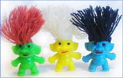 3 VINTAGE LUCKY SHNOOKS TROLL Gumball CHARM Pencil Toppers HONG KONG Miniature