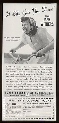 1939 Jane Withers photo bicycle Cycling Trades vintage print ad