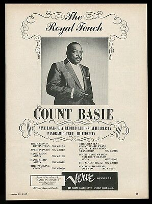 1957 Count Basie photo Verve Records vintage print ad