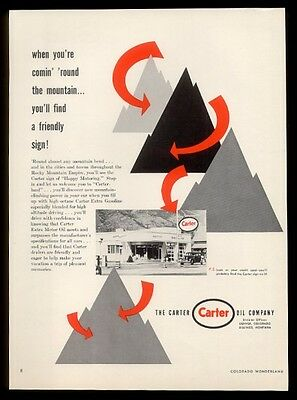 1953 Carter Oil gas service station photo mountain graphics vintage print ad