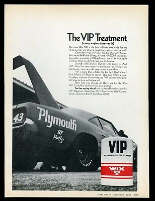 1970 Plymouth Superbird Richard Petty race car photo Wix VIP oil filter print ad