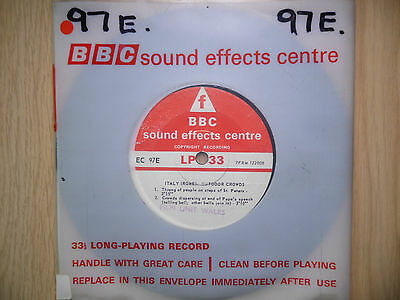 "BBC Sound Effects 7"" Record - Rome, Outdoor Crowds After Popes Speech, Bells"
