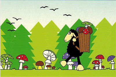 BLACK SHEEP WITH BIG BASKET collects mushrooms Modern Russian postcard