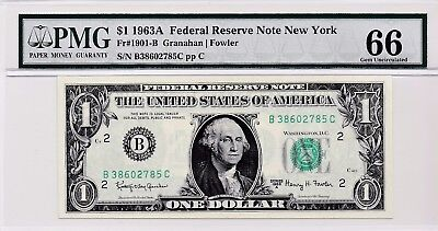 $1 1963A Federal Reserve Note New York S/N B38602785C PMG 66 Gem Unc