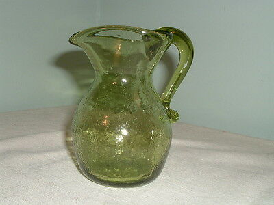 "Vintage Chartreuse Green Seeded Crackle Glass 4 3/4"" Pitcher Rough Pontil"