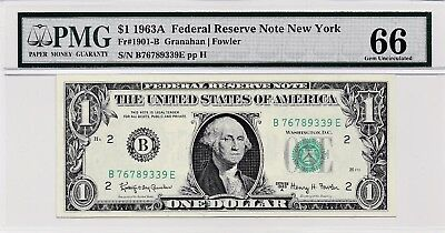 $1 1963A Federal Reserve Note New York S/N B76789339E PMG 66 Gem Unc
