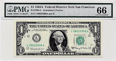 $1 1963A Federal Reserve Note San Francisco S/N L08625996A PMG 66 Gem Unc