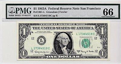 $1 1963A Federal Reserve Note San Francisco S/N L17364519C PMG 66 Gem Unc